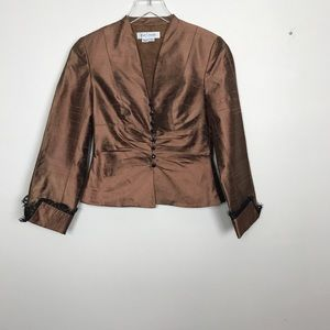 Kay Unger bronze blazer w/black lace and buttons 2